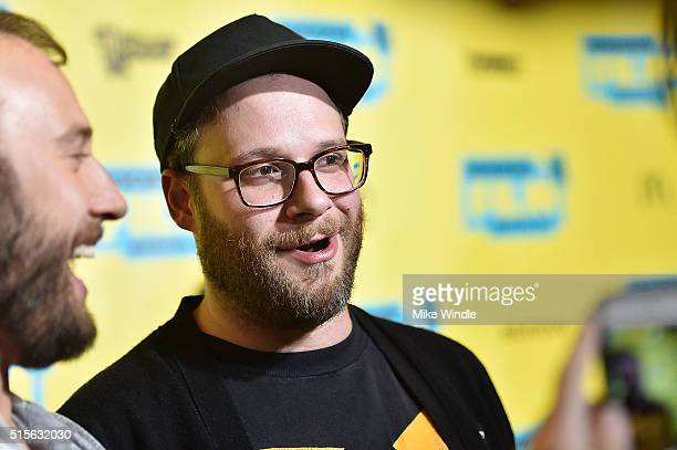 Producer Seth Rogen attends the premiere of 'Sausage Party ' during the 2016 SXSW Music Film Interactive Festival at Paramount Theatre on March 14...