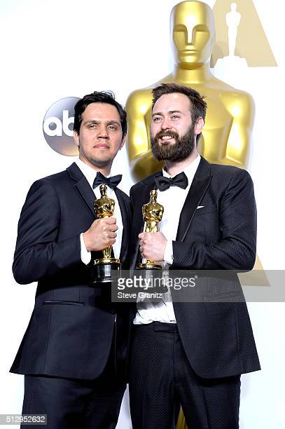 Producer Shan Christopher Ogilvie and director Benjamin Cleary, winners of the Best Live Action Short award for 'Stutterer,' pose in the press room...