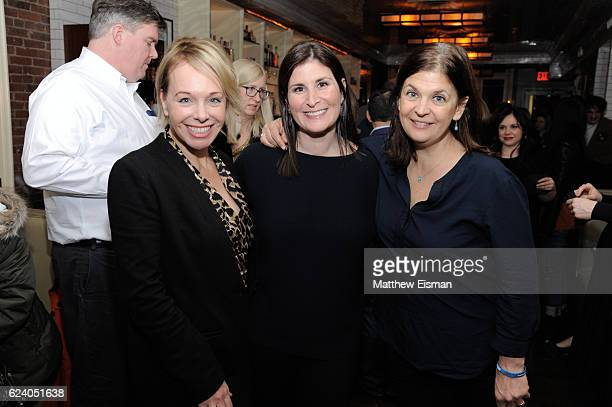 """Producer Shanna Belott, director Lara Stolman and editor Ann Collins pose together for a photo at the afterparty for for New York premiere of """"Swim..."""