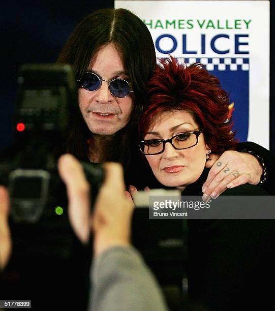 Producer Sharon Osbourne and husband musician Ozzy Osbourne attend a press conference following a breakin at their Chalfort St Peter home yesterday...