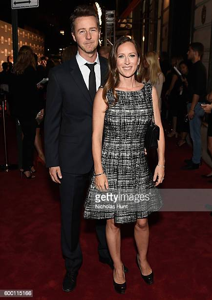 Producer Shauna Robertson and Actor Ed Norton attend the Cartier Fifth Avenue Grand Reopening Event at the Cartier Mansion on September 7 2016 in New...