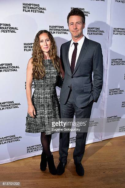 Producer Shauna Robertson and actor Edward Norton attend the Awards Dinner at the Hamptons International Film Festival 2016 at Topping Rose on...