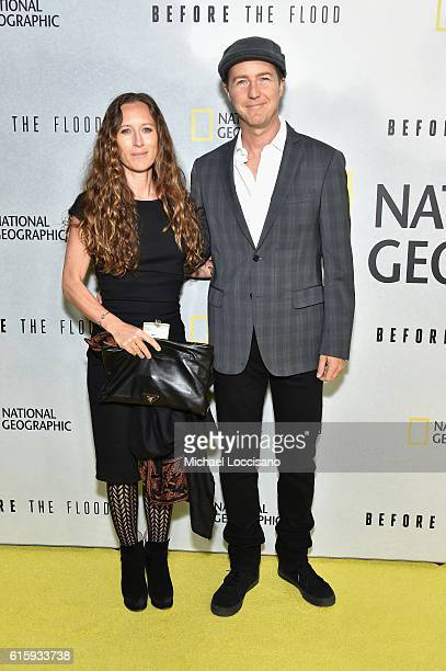 Producer Shauna Robertson and actor Edward Norton attend the National Geographic Channel 'Before the Flood' screening at United Nations Headquarters...
