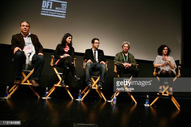 Producer Sherif Madour writer/director Cherien Dabis director Mahmoud Kaabour producer Richard Lorber and Hayet Benkara speak during the premiere Of...
