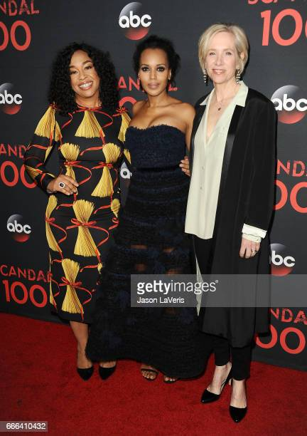 Producer Shonda Rhimes actress Kerry Washington and producer Betsy Beers attend ABC's 'Scandal' 100th episode celebration at Fig Olive on April 8...