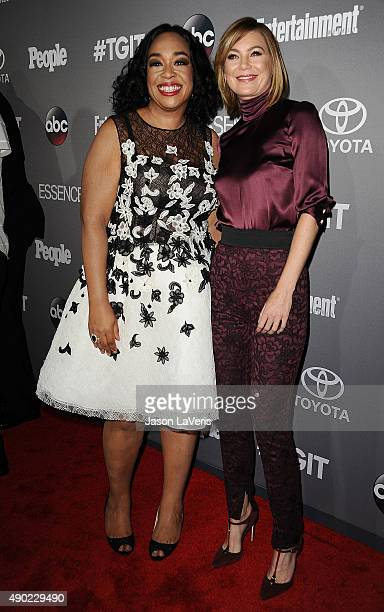 Producer Shonda Rhimes and actress Ellen Pompeo attend ABC's TGIT premiere event on September 26 2015 in West Hollywood California