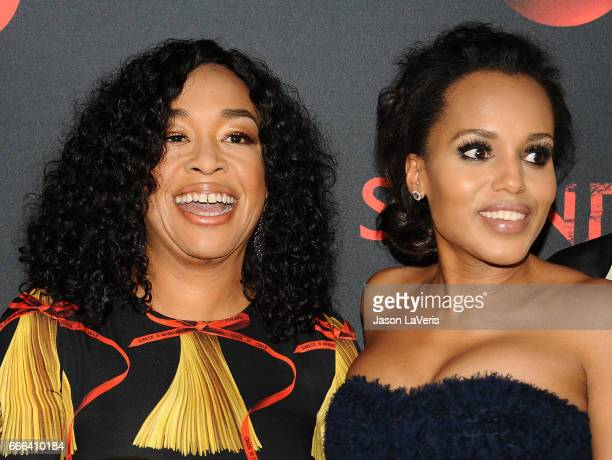 Producer Shonda Rhimes and actress Kerry Washington attend ABC's 'Scandal' 100th episode celebration at Fig Olive on April 8 2017 in West Hollywood...