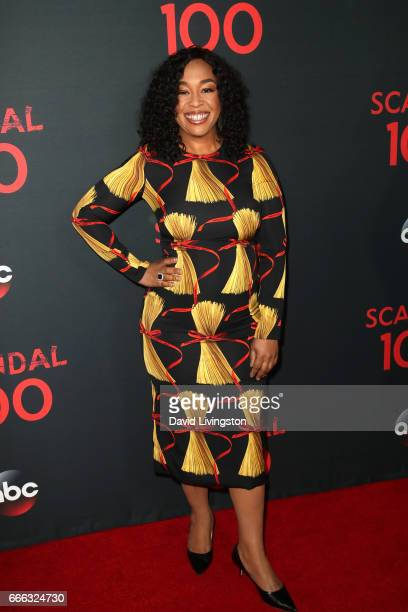Producer Shonda Rhimes attends ABC's 'Scandal' 100th Episode Celebration at Fig Olive on April 8 2017 in West Hollywood California