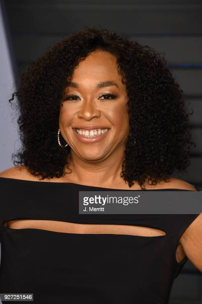 Producer Shonda Rhimes attends the 2018 Vanity Fair Oscar Party hosted by Radhika Jones at the Wallis Annenberg Center for the Performing Arts on...