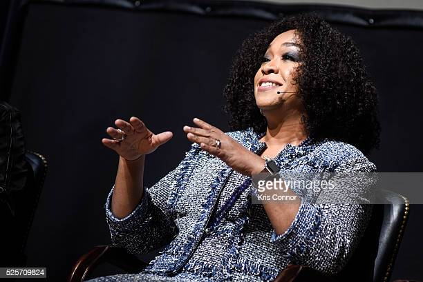 Producer Shonda Rhimes speaks during the Scandalous event hosted by the Smithsonian Associates with Shonda Rhimes and the cast of ABC's Scandals at...