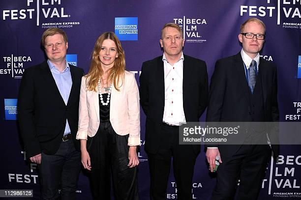 "Producer Sigvaldi J. Karason, Heida Kristin Helgadottir, Jon Gnarr, and Director Gaukur Ulfarsson attend the premiere of ""Gnarr"" during the 2011..."