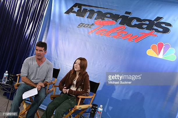 Producer Simon Cowell and singer Bianca Ryan discuss Ryan's signing to Columbia Records/Syco at the America's Got Talent Press Conference announcing...