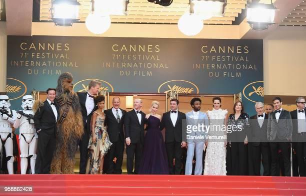 Producer Simon Emanuel, actor Joonas Suotamo, actress Thandie Newton, actor Woody Harrelson, director Ron Howard, actress Emilia Clarke, actor Alden...