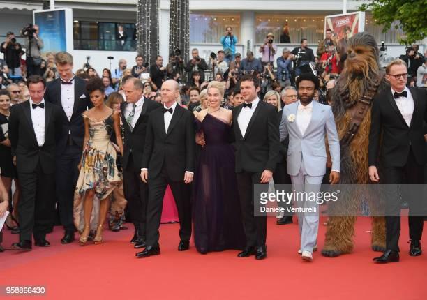 Producer Simon Emanuel, actor Joonas Suotamo, actress Thandie Newton, actor Woody Harrelson, director Ron Howard, actress Emilia Clarke, actors Alden...