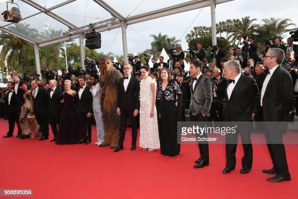 Producer Simon Emanuel actor Joonas Suotamo actress Thandie Newton actor Woody Harrelson director Ron Howard actress Emilia Clarke actors Alden...