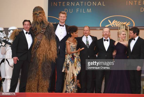Producer Simon Emanuel Chewbacca actor Joonas Suotamo actress Thandie Newton actor Woody Harrelson director Ron Howard actress Emilia Clarke and...
