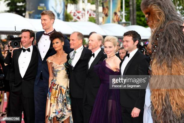 Producer Simon Emanuel Joonas Suotamo Thandie Newton Woody Harrelson director Ron Howard Emilia Clarke and Alden Ehrenreich and Chewbacca attend the...