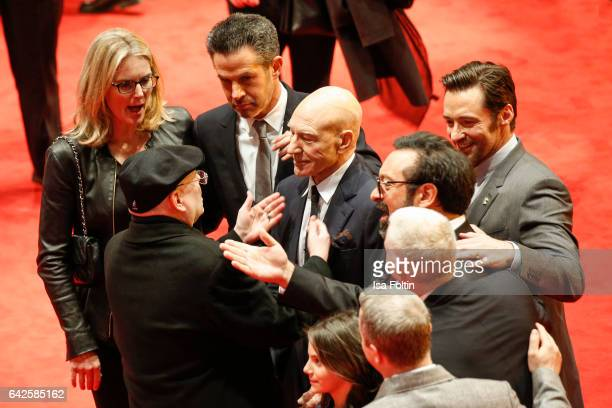 Producer Simon Kinberg british actor Patrick Stewart australian actor Hugh Jackman and director James Mangoldattend the 'Logan' premiere during the...