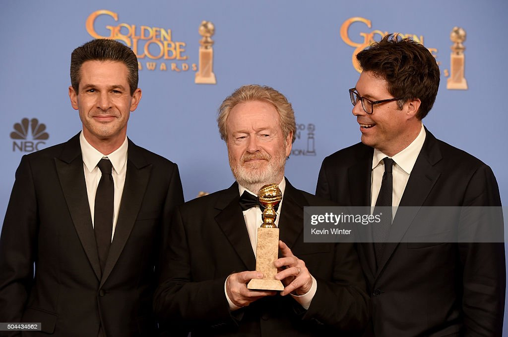 Producer Simon Kinberg, director Ridley Scott and producer Michael Schaefer, winners of the award for Best Motion Picture - Musical or Comedy for 'The Martian,' pose in the press room during the 73rd Annual Golden Globe Awards held at the Beverly Hilton Hotel on January 10, 2016 in Beverly Hills, California.