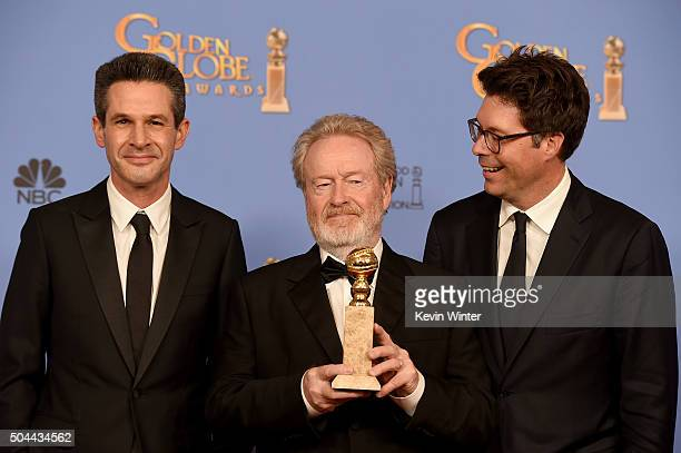 Producer Simon Kinberg director Ridley Scott and producer Michael Schaefer winners of the award for Best Motion Picture Musical or Comedy for 'The...