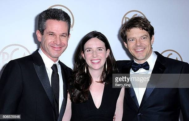 Producer Simon Kinberg Lauren Schuker Blum and producer Jason Blum attend the 27th Annual Producers Guild Of America Awards at the Hyatt Regency...