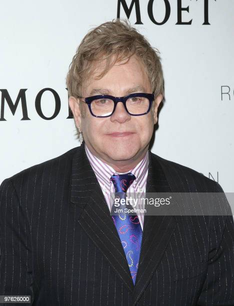 Producer Sir Elton John attends a VIP performance of Next Fall on Broadway at the Helen Hayes Theatre on March 10 2010 in New York City