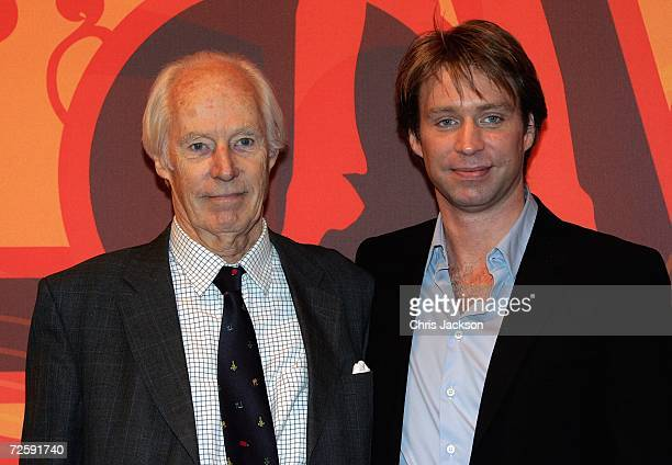 Producer Sir George Martin and his son Giles are seen at the Launch of the New Beatles Album 'Love' at Abbey Road Studios on November 17 2006 in...