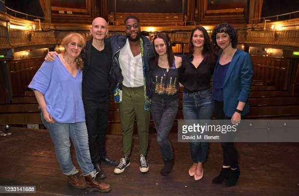 Producer Sonia Friedman, Director Ian Rickson, cast members Fehinti Balogun, Lydia Wilson and Gemma Arterton and Playwright Amy Berryman pose at a...