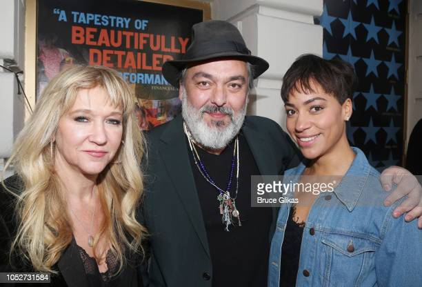 Producer Sonia Friedman Playwright Jez Butterworth and Cush Jumbo pose at the opening night of the new play The Ferryman on Broadway at The Bernard B...