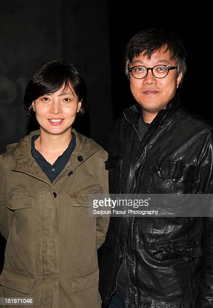 Producer SooHyun Ahn and Director Choi Donghoon speaks at The Thieves premiere during the 2012 Toronto International Film Festival at the Ryerson...