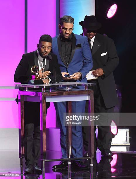 Producer Sounwave with the award for Best Rap/Sung Collaboration at the GRAMMY PreTelecast at The 58th GRAMMY Awards at Microsoft Theater on February...