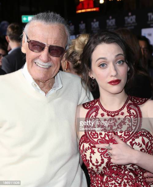 Producer Stan Lee and actress Kat Dennings attend the premiere of Marvel's Thor The Dark World at the El Capitan Theatre on November 4 2013 in...