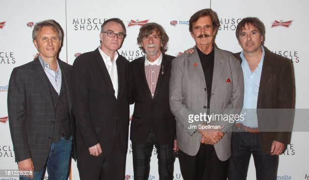 Producer Stephen Badger Eamonn Bowles Spooner Oldham Rick Hall and director Greg 'Freddy' Camalier attend the 'Muscle Shoals' New York Premiere at...