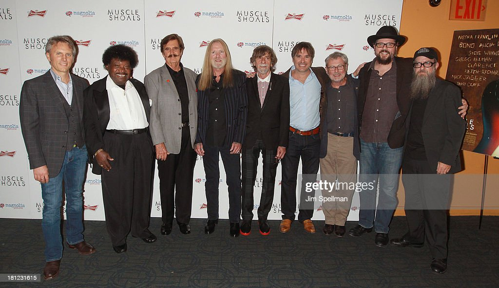 Producer Stephen Badger, singer Percy Sledge, Rick Hall, singer/songwriter Gregg Allman, Spooner Oldham, director Greg 'Freddy' Camalier, David Hood, Patterson Hoodand and Brad Morgan attend the 'Muscle Shoals' New York Premiere at Landmark's Sunshine Cinema on September 19, 2013 in New York City.