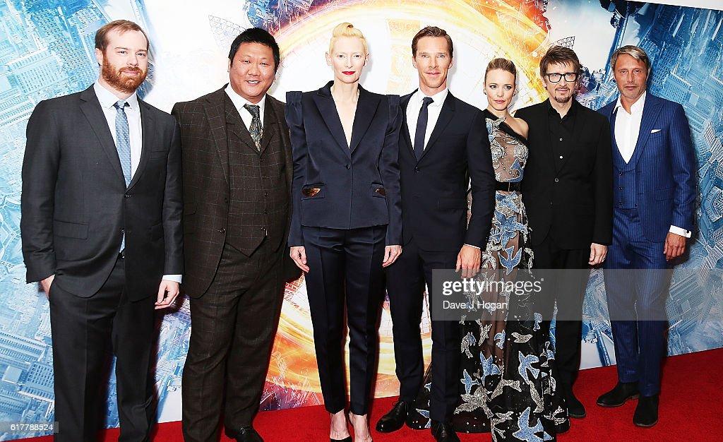 Producer Stephen Broussard, Benedict Wong, Tilda Swinton, Benedict Cumberbatch, Rachel McAdams, Director Scott Derrickson and Mads Mikkelsen attend the fan screening event for 'Doctor Strange' on October 24, 2016 in London, United Kingdom.