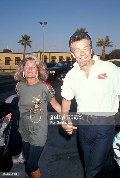 Producer Stephen Cannell and wife Marcia Finch attending FOX Affiliates Party on July 11 1989 in Marina Del Rey California
