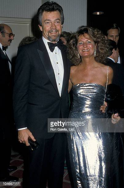Producer Stephen Cannell and wife Marcia Finch attending NBC TV Affiliates Dinner on December 11 1986 at the Century Plaza Hotel in Century City...