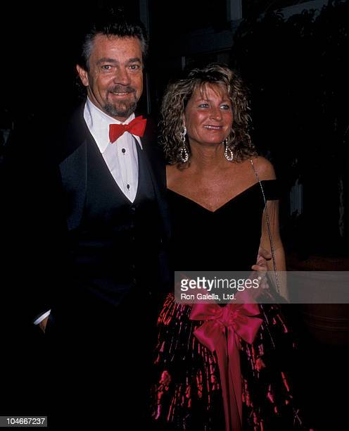 Producer Stephen Cannell and wife Marcia Finch attending Princess Grace Foundation Gala Honoring Cary Grant on October 19 1988 at the Beverly Hilton...