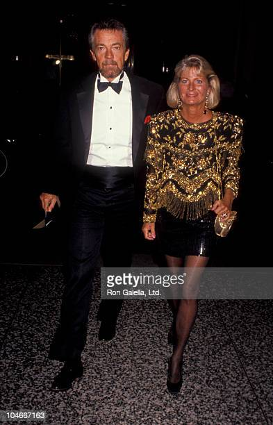 Producer Stephen Cannell and wife Marcia Finch attending Tevelision Academy Hall Of Fame Awards on September 23 1991 at the Beverly Wilshire Hotel in...