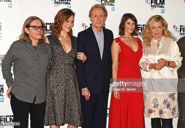 Producer Stephen Woolley actors Rachael Stirling Bill Nighy Gemma Arterton and director Lone Scherfig attend a photocall for 'Their Finest' during...