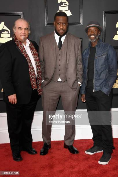 Producer Steve Berkowitz musician Robert Glasper and actor/director Don Cheadle attend The 59th GRAMMY Awards at STAPLES Center on February 12 2017...