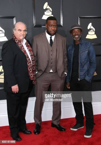 Producer Steve Berkowitz musician Robert Glasper and actor/director Don Cheadle arrive at The 59th GRAMMY Awards at Staples Center on February 12...