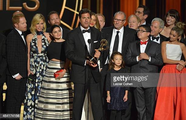 Producer Steve Levitan and cast and crew of 'Modern Family' appear onstage at the 66th Annual Primetime Emmy Awards held at Nokia Theatre LA Live on...