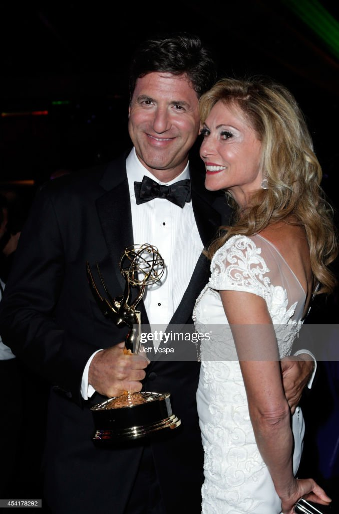 Producer Steve Levitan (L) and Krista Levitan attend the 66th Annual Primetime Emmy Awards Governors Ball held at Los Angeles Convention Center on August 25, 2014 in Los Angeles, California.