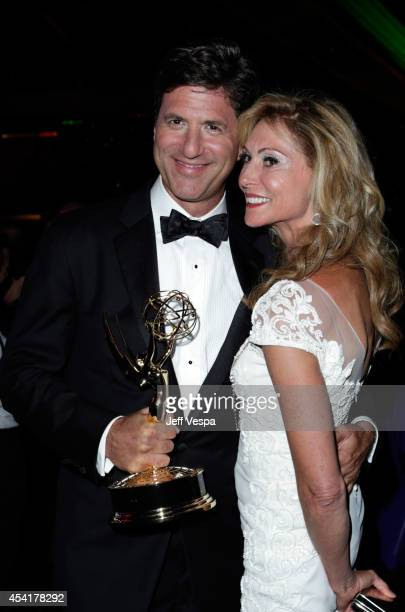 Producer Steve Levitan and Krista Levitan attend the 66th Annual Primetime Emmy Awards Governors Ball held at Los Angeles Convention Center on August...