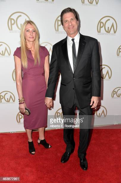 Producer Steven Levitan and Krista Levitan attend the 25th annual Producers Guild of America Awards at The Beverly Hilton Hotel on January 19 2014 in...
