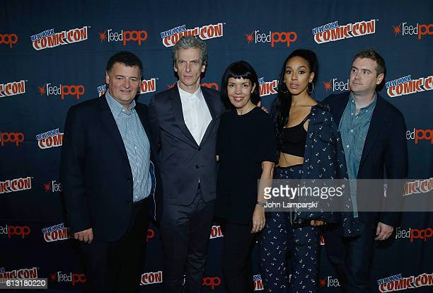Producer Steven Moffat Peter Capaldi Sarah Burnett Pearl Mackie and Producer Brian Minchin attend the Doctor Who panel during the 2016 New York Comic...