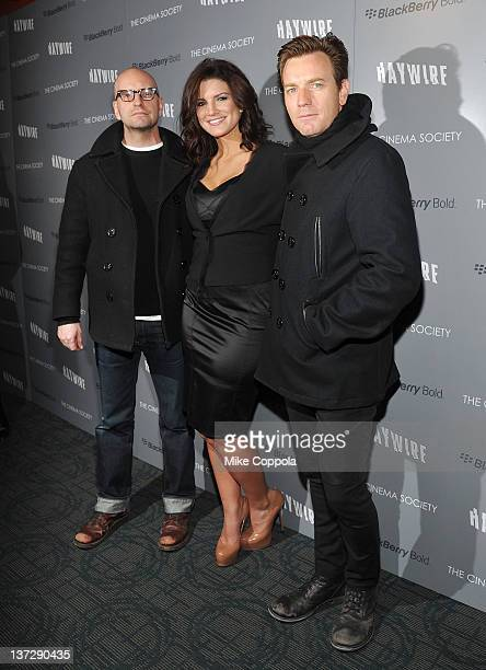 Producer Steven Soderbergh actor Ewan McGregor and actress Gina Carano attend the Cinema Society Blackberry Bold screening of Haywire at Landmark...