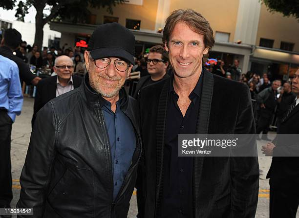 Producer Steven Spielberg and director Michael Bay arrive at the premiere of Paramount Pictures' 'Super 8' at Regency Village Theatre on June 8 2011...