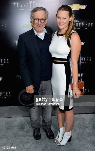 Producer Steven Spielberg and his daughter Destry Allyn Spielberg attend the New York Premiere of Transformers Age Of Extinction at the Ziegfeld...